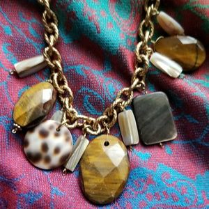 Carolee necklace Tiger eye gold tone chunky brown